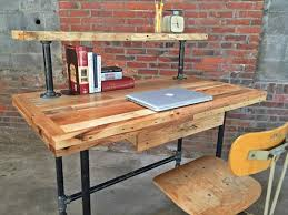 wood pallet and metal pipe desk pallet furniture diy