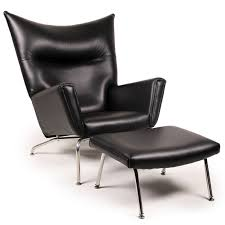 mid century modern wegner wing chair and ottoman replica in