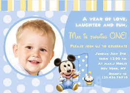 1st Birthday Invitation Card Samples Mickey Mouse First Birthday Invitations Iidaemilia Com
