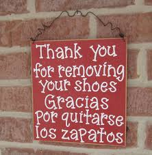 free shipping english and spanish remove your shoes sign red