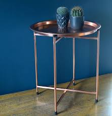 Round Trays For Coffee Tables - folding coffee table with round tray in copper by the forest u0026 co