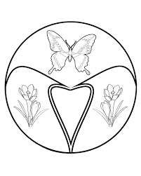 butterfly coloring pages flowers and leaves