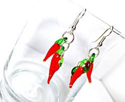 nickel earrings hot chili pepper earrings lwork pepper earrings glass pe