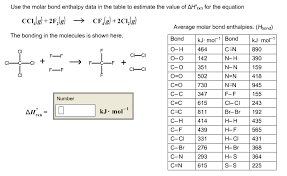 Table To Equation Use The Molar Bond Enthalpy Data In The Table To E Chegg Com