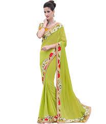 indian women by bahubali dhaani light green embellished saree
