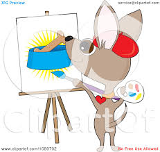 clipart artist chihuahua dog painting a biscuit in a bowl
