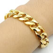 s bracelet 14mm width fashion 316l stainless steel gold chain for men