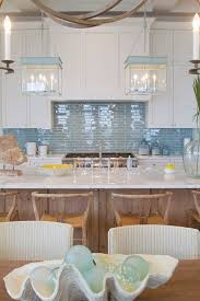 blue glass kitchen backsplash gorgeous beachy kitchen with pale watery blue tile wishbone