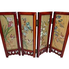 vintage small asian tabletop folding screen geisha girls birds