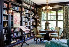 large window library with rich colour scheme cozy library ideas