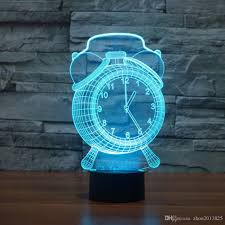 3d optical illusion clock changing led touch desk lamp night light
