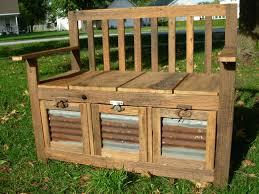rustic storage bench bench decoration