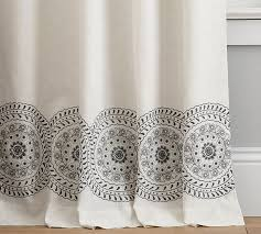 Embroidered Linen Curtains Nora Embroidered Medallion Border Drape Pottery Barn