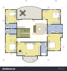 house plan first second floor plan floorplan house stock vector