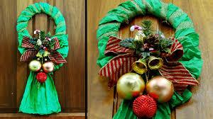 easy crepe paper christmas wreath youtube