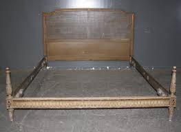 french louis xvi queen bed cane banded carved j6334 for sale