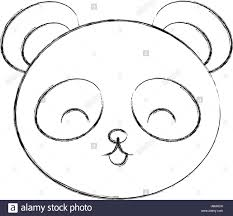 cute sketch draw panda bear face stock vector art u0026 illustration