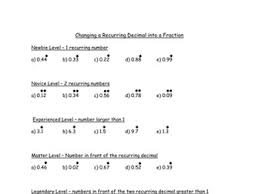 recurring decimals to fractions worksheet by samfletch18