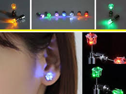light up earring studs shop stud online 2016 new fashion jewelry men women light up led