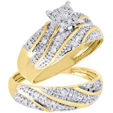 diamond wedding ring sets for 10k yellow gold diamond trio set matching engagement ring wedding