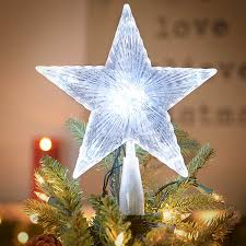 amazon com crystal 5 point star light up christmas tree topper