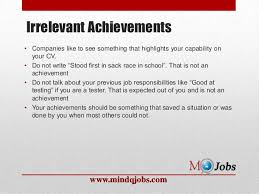 Achievement Resume Mindqjobs Com What Not To Write In A Resume
