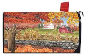 halloween mailbox covers amazon com autumn day scene large mailbox cover fall leaves