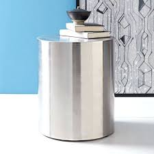 Drum Accent Table Side Table Nickel Side Table Uk Brushed Nickel Glass Side Table