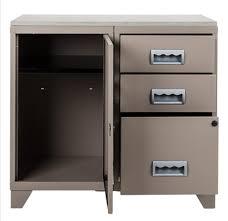 meuble de bureau meuble bureau métal 1 porte 3 tiroirs taupe