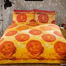 Amazon Duvet Sets Just Contempo Pizza Duvet Cover Set Double Amazon Co Uk Kitchen