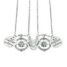 best necklace sets images Bbf no matter where compass necklaces set heart best friend jpg