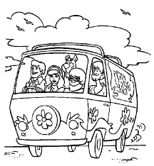 Freds Driving Mystery Machine Car Scooby Doo Coloring Pages Best Mystery Coloring Pages