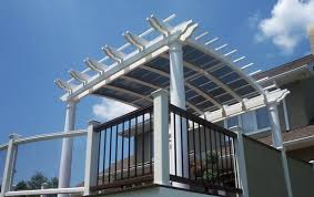 White Vinyl Pergola by Arched Vinyl Pergola Lexington Deck Supplies