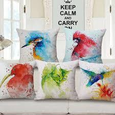taie d oreiller pour canapé aquarela housse de coussin oiseaux taie d oreiller pour