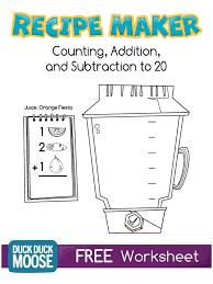 recipe maker worksheet kindergarten common core k cc 4 k oa 1