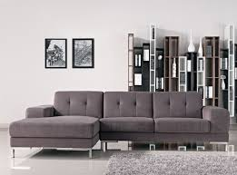 L Shaped Sofa With Chaise Lounge Tufted Gray Fabric Sectional Sofa With Wide Chaise Lounge Of
