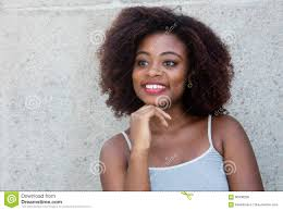 hair i woman s chin sideways african american woman with typical afro hair looking sideways