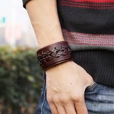 leather wrist strap bracelet images Rock punk wide leather men 39 s wrist band strap cross weaving jpg