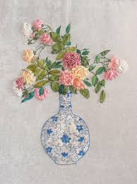 silk ribbon roses roses in vase embroidery kit