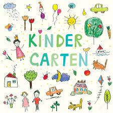 kindergarten banner with funny kids drawing vector design