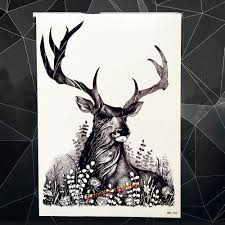 online shop deer monster temporary tattoo fire horn snake