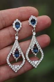 gold bridal earrings chandelier sapphire blue bridal earrings swarovski earrings wedding