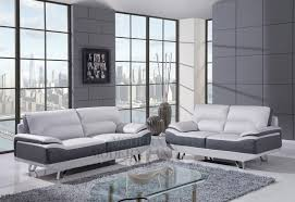Modern Gray Leather Sofa Modern Dual Tone Light Grey Grey Leather Living Room