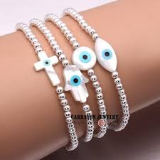 bracelet elastic string images New fashion elastic string mother of pearl shell hamsa hand of jpg