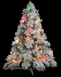30 flocked tree with multi colored lights artificial flocked trees