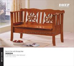Storage Seat Bench Classic Indoor Wood Bench Chair With Rest Back U0026 Storage Seat