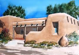 Style Of Home Adobe Pueblo Style Adobe Watercolor By Charles Ash