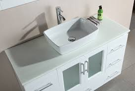 design element stanton single vessel sink vanity set with white