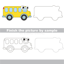bus drawing worksheet stock vector image 75234022