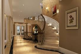 fancy staircase with carving metal barriers cream color marble